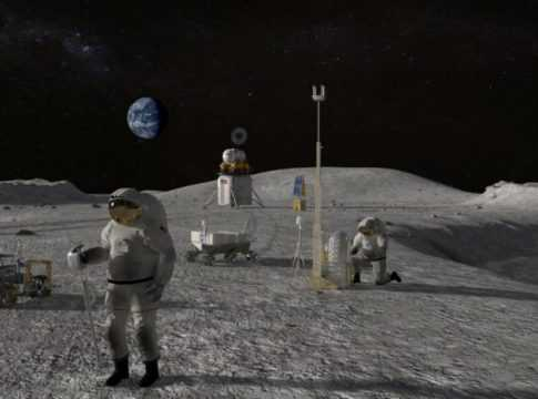 Astronauts in moon